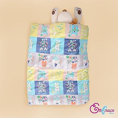 Embrace英柏絲 美國棉 插畫系列 兒童冬天暖被(藍色開心農場)4x5尺 精梳純棉