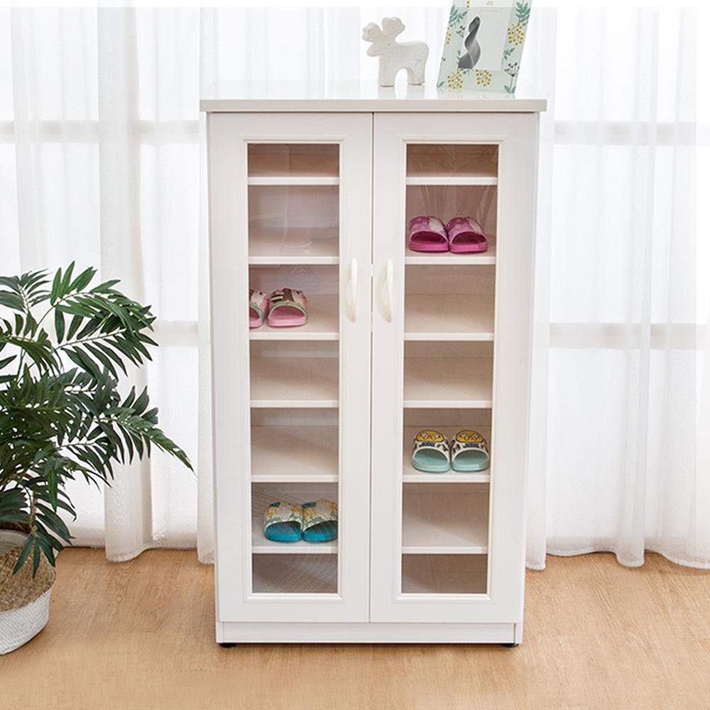 Boden-防潮防蛀 防水塑鋼2.2尺二門透視鋼鞋櫃(白色)-66x34x117cm