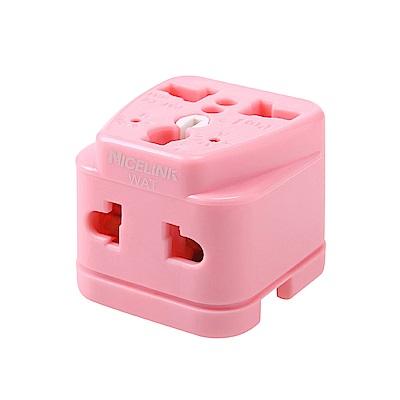 [團購]耐司林克《全球通用型》旅行萬用轉接頭(粉色)-雙插座設計/電壓指示燈設計-4入