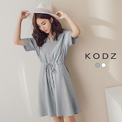 東京著衣-KODZ 簡約領口設計感綁帶洋裝-S.M.L(共二色)