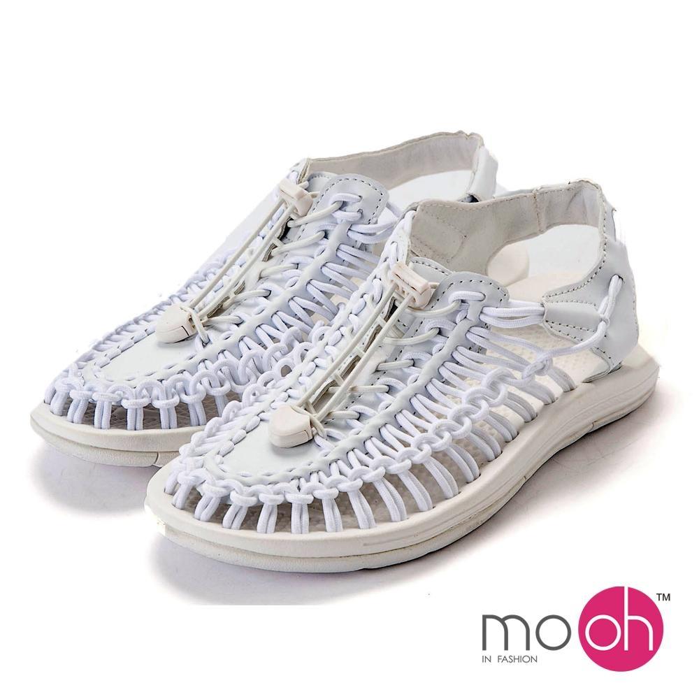 mo.oh-情侶款編織沙灘羅馬包頭涼鞋-白色