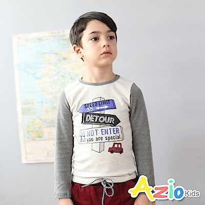 Azio Kids 上衣 路牌車子印花圓領拼接袖棉T(灰)