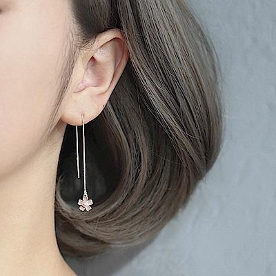 梨花HaNA 韓國S925銀粉嫩少女風櫻花雨耳線耳環
