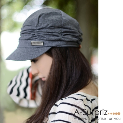 A-Surpriz 優雅皺褶貝蕾帽(氣質灰)