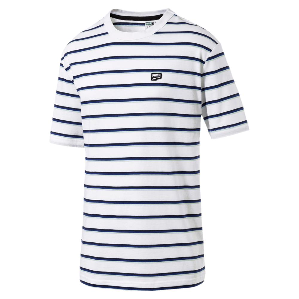 PUMA-男性流行系列Downtown細條紋短袖T恤-白色-歐規