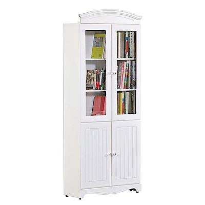 文創集 法斯威法式白2.7尺四門書櫃/收納櫃-80x32x197cm免組