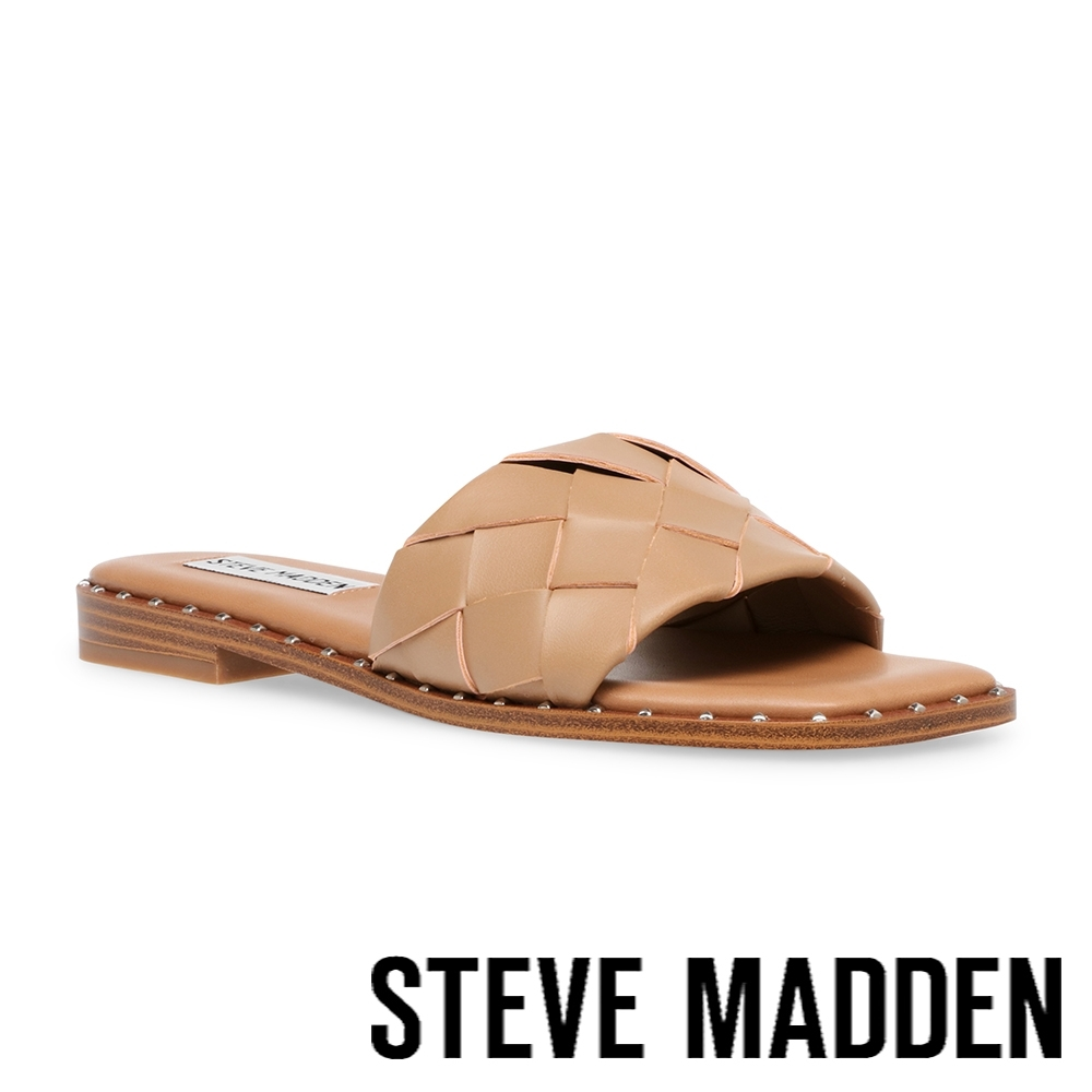 STEVE MADDEN-TWISTIE 寬編織平底拖鞋-奶茶棕