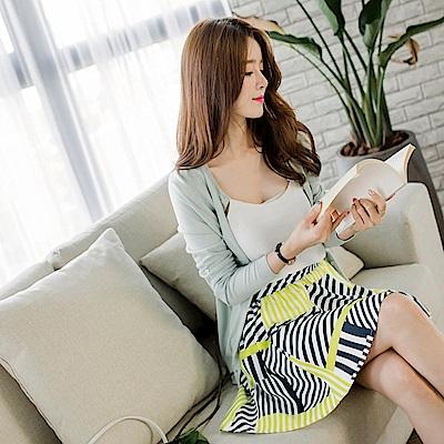 附綁帶撞色條紋圖案腰圍鬆緊傘襬短褲裙.2色-OB大尺碼