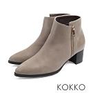 KOKKO - 戀戀冬日牛皮側拉鍊尖頭中跟短靴 - 深灰