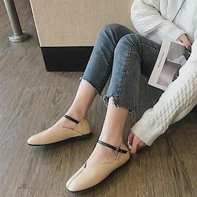 韓國KW美鞋館 韓式名媛甜美名媛平底鞋-米白色
