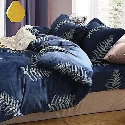La Lune 冬季首選軒 s百分百法蘭絨雙人加大床包毯被四件組 藍悅之葉