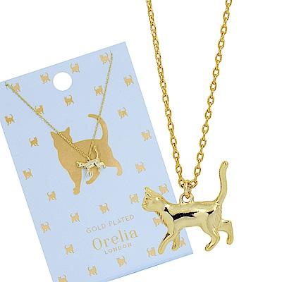 Orelia英國品牌 立體貓咪造型金色項練