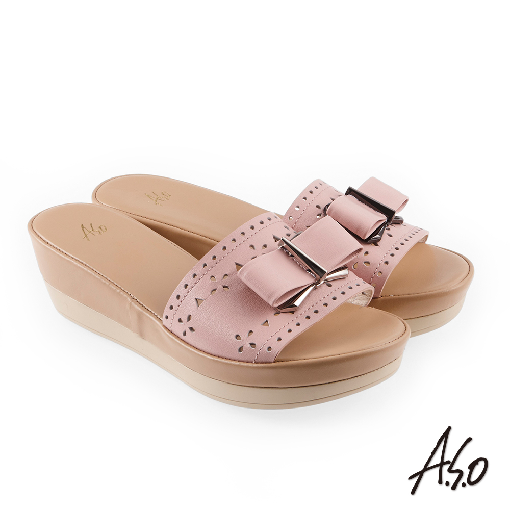 A.S.O 希臘渡假 蝴蝶結飾釦沖孔全真皮休閒耐磨厚底拖鞋 粉紅