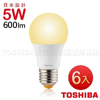 TOSHIBA東芝 5W廣角型LED燈泡/高效球泡燈-黃光6入