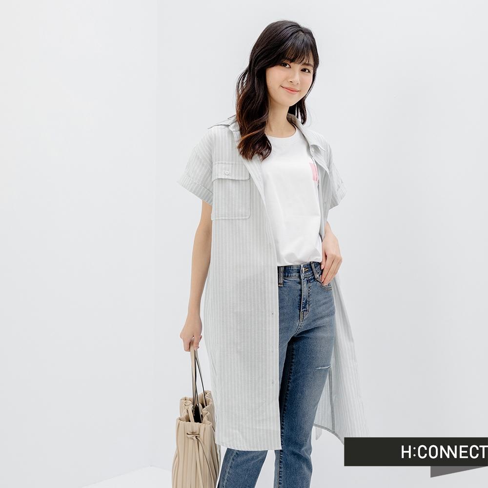 H:CONNECT 韓國品牌 女裝-雙口袋棉麻長版襯衫洋裝-灰