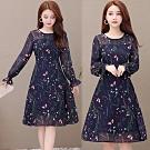 【韓國K.W.】雪紡印花氣質蕾絲長袖洋裝-1色