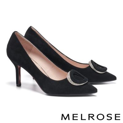 高跟鞋 MELROSE 精緻高雅白鑽橢圓飾釦尖頭美型高跟鞋-黑