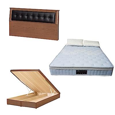 綠活居 亞凱6尺雙人加大床台三式組合(床頭片+後掀床底+天絲獨立筒床墊)五色可選