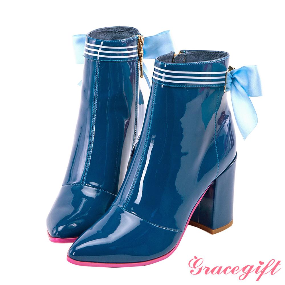 Grace gift-美少女戰士漆皮水手蝴蝶結短靴 藍