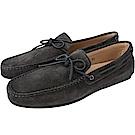 TOD'S Gommino 麂皮綁帶休閒豆豆鞋(男鞋/深灰色)
