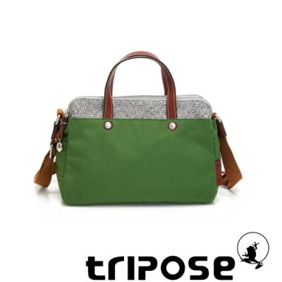 tripose 漫遊系列岩紋雙拉鍊手提斜背包 草地綠