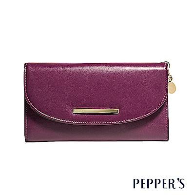 PEPPER`S Raven 牛皮掀蓋長夾 - 胭紫