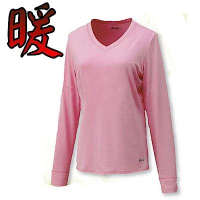 VOSUN 女款 赤足-遠紅外線V領保暖內衣_EW2502 粉紅色 V