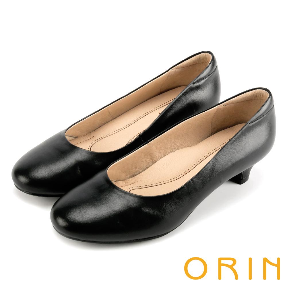 ORIN 簡約時尚OL 牛皮百搭素面低跟鞋-黑色
