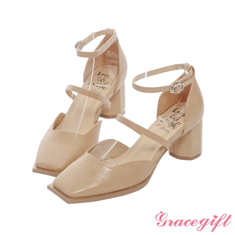 Grace gift X Kerina-聯名方頭雙帶設計中跟鞋 杏壓紋