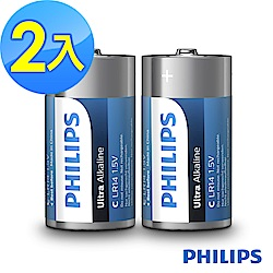 【PHILIPS飛利浦】2號超鹼電池( 2顆 )