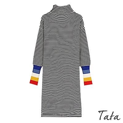 高領彩色束口袖針織洋裝 共二色 TATA