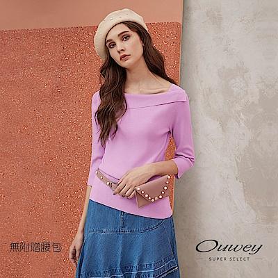 OUWEY歐薇 時尚百搭七分袖造型翻領針織上衣(紫)