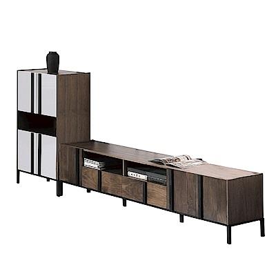品家居 費肯9尺木紋雙色L型電視櫃組合-270x40x114cm免組