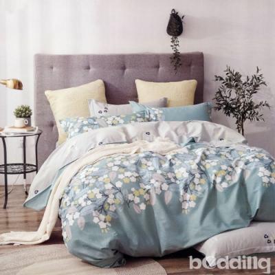 BEDDING-100%棉特大雙人6x7尺薄式床包-歲月如歌-藍