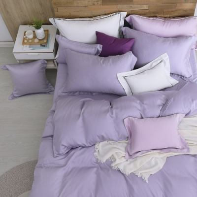 OLIVIA  solid color 浪漫紫 加大雙人床包被套四件組 膠原蛋白天絲 台灣製