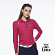 【Lynx Golf】女款遠紅外線保暖刷毛POKER圖樣繡花長袖POLO衫-桃紅色 product thumbnail 2