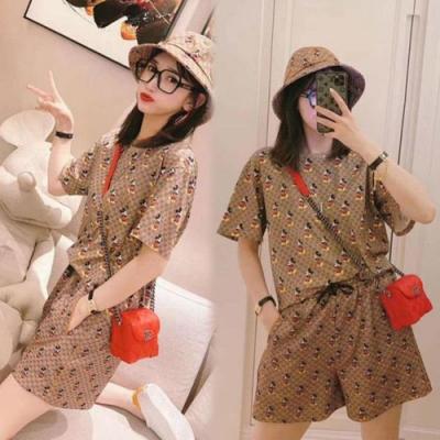 【韓國K.W.】(預購) 甜美可愛印花時尚套裝褲