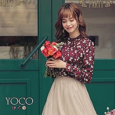東京著衣-yoco 韓國姐姐領抓皺花朵印花質感上衣-S.M.L(共三色)