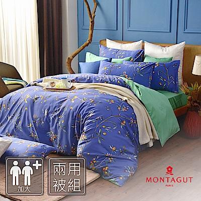 MONTAGUT-公爵的金桔茶-260織紗精梳棉-兩用被床包四件組(藍色-加大)