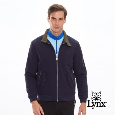 【Lynx Golf】男款防風鋪棉袋蓋拉鍊口袋長袖外套-深藍色