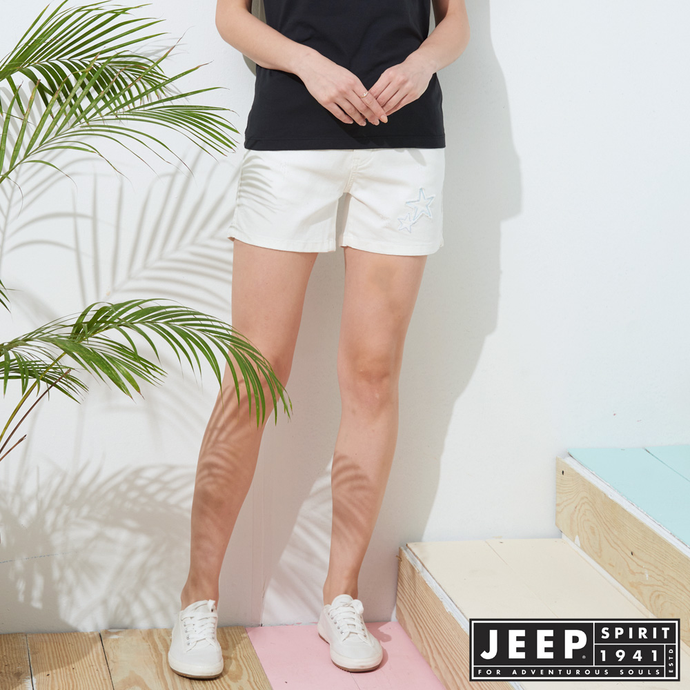 JEEP 女裝 夏季清新質感休閒短褲-白