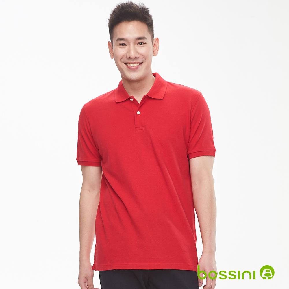 bossini男裝-純棉素色POLO衫19暗紅