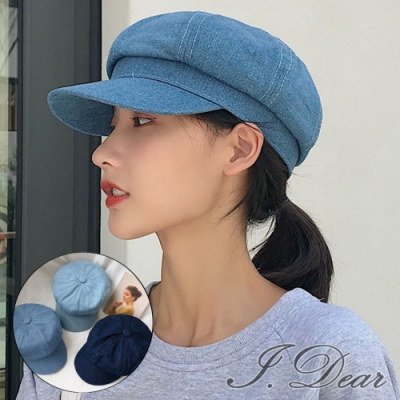 I.Dear-韓系休閒牛仔風防曬遮陽畫家帽貝雷帽(3色)