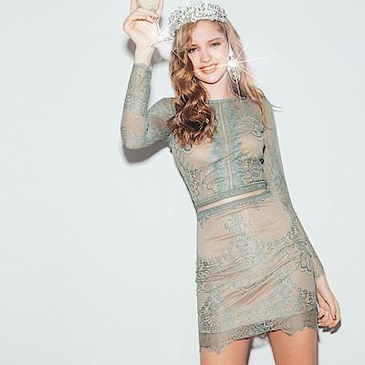 AIR SPACE 細緻透肌睫毛蕾絲裙套裝(綠) @ Y!購物