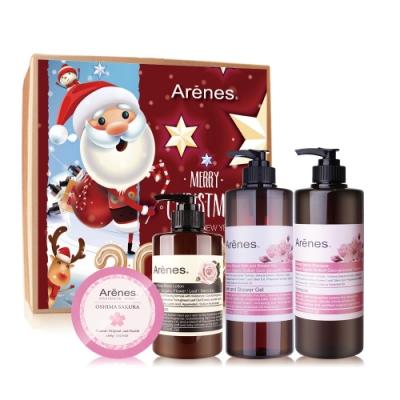 Arenes水漾櫻花聖誕禮盒(櫻洗+櫻沐+櫻皂+玫身+聖誕禮盒+牛皮大提袋)