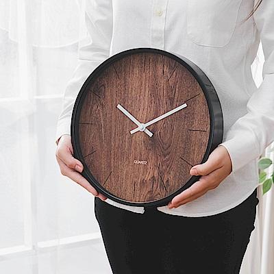 樂嫚妮 簡約仿木紋掛鐘/時鐘/12吋/低噪-棕木紋色