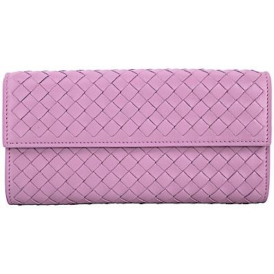 BOTTEGA VENETA 耦紫色小羊皮手工編織長夾(展示品)