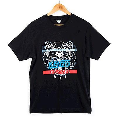 KENZO 新款印刷條紋虎頭短T (黑色/男款)