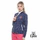 【Lynx Golf】女款吸濕排汗羅紋領滿版印花長袖外套-深藍色 product thumbnail 2