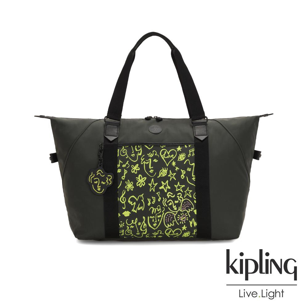 Kipling Christine Lau聯名款-俏皮螢光綠音樂塗鴉手提側背包-ART M
